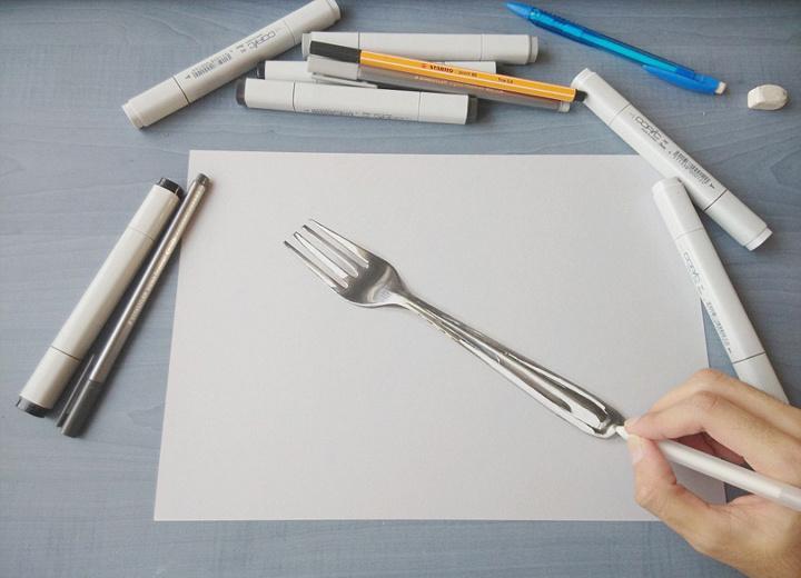 他说他是六年前才对立体画产生兴趣,自学成才,他曾经还用石墨铅笔和彩图片